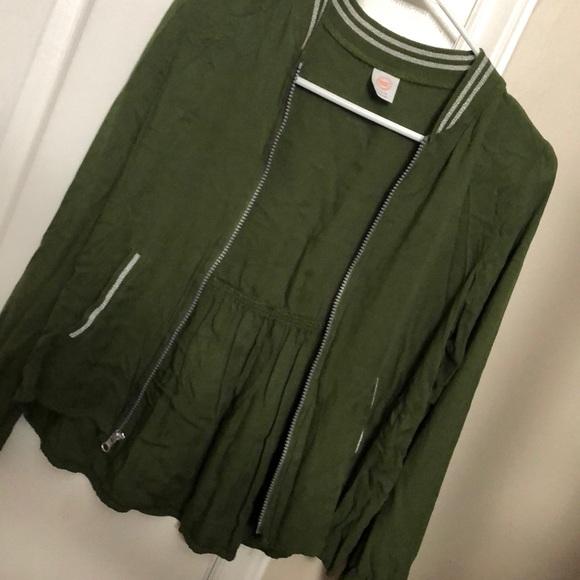 A girls varsity style zip up